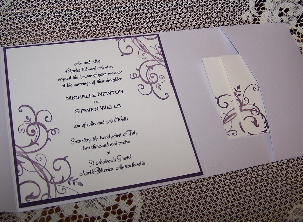 White Pocket Invitation with Baroque Motif