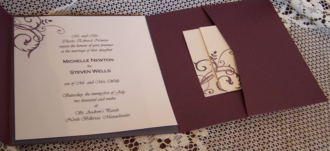 Ruby pocket invitation with Baroque Motif
