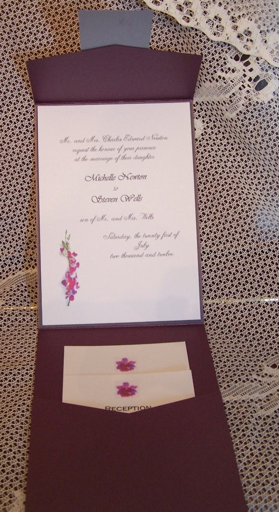 Inside of invitation with floral motif
