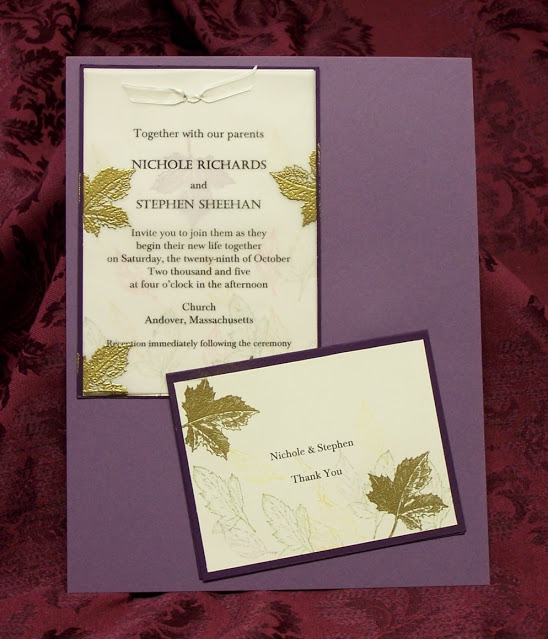 Fall Invitation with Hand stamped Gold Embossed Leaves