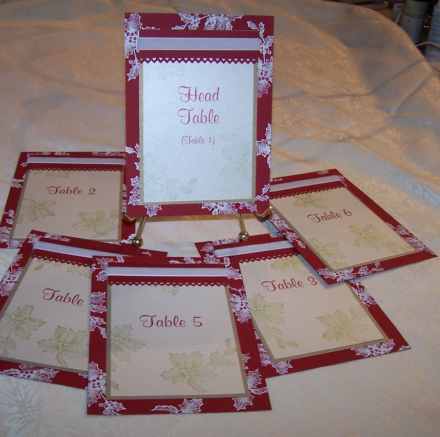 Table Cards for Christmas Wedding