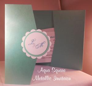 Aqua Metallic Wedding Invitaiton